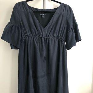 Silk, flutter sleeve, babydoll dress
